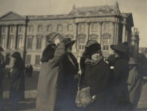 Megan Lloyd George outside the Palace of Versailles, 1919